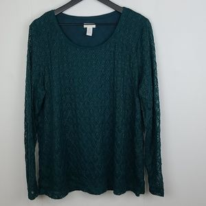 Chico's Lace Green Sheer Sleeve Top Size 3 or Xl